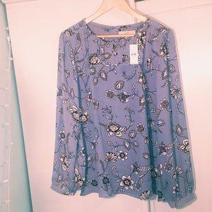 LOFT NWT grey/purple XL blouse